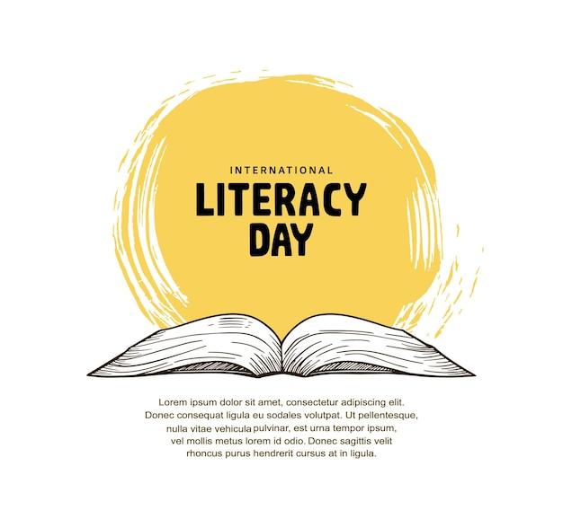 Giornata internazionale dell'alfabetizzazione con illustrazione del libro aperto, pennello giallo e sfondo bianco