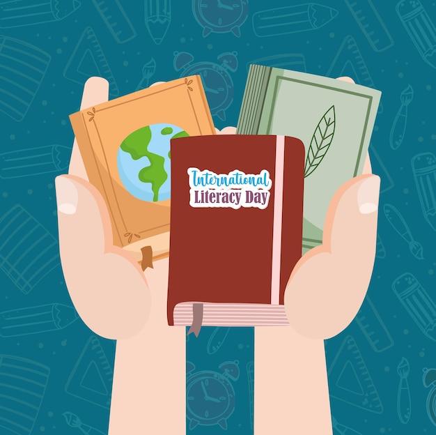 Alfabetizzazione internazionale mani con libri