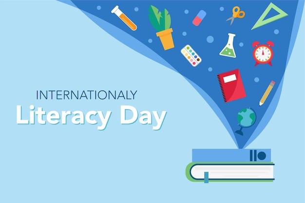 Giornata internazionale della letteratura libri e conoscenza tagliare l'illustrazione vettoriale in stile cartone animato piatto