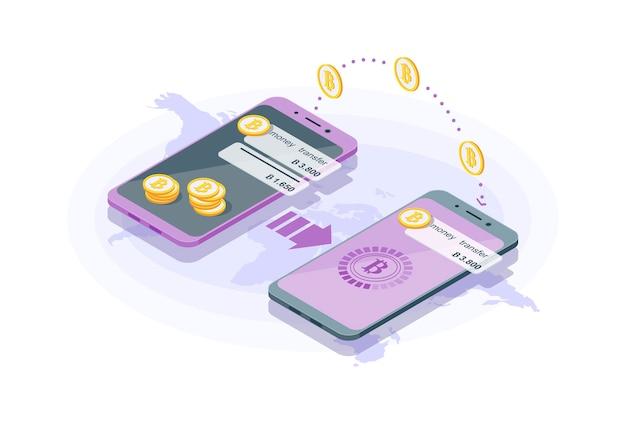 Trasferimento di denaro internazionale isometrico. transazione di criptovaluta. infografica di mobile banking. inviare soldi. portafoglio digitale bitcoin. concetto 3d di pagamento elettronico. sito web, progettazione di app