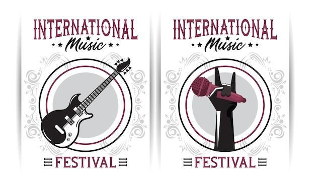 Manifesto del festival musicale internazionale con chitarra elettrica e microfono a sollevamento manuale