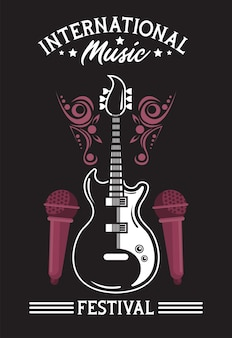 Manifesto del festival musicale internazionale con chitarra elettrica e microfoni in sfondo nero
