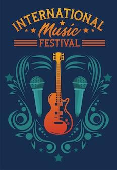 Manifesto del festival musicale internazionale con chitarra elettrica e microfoni