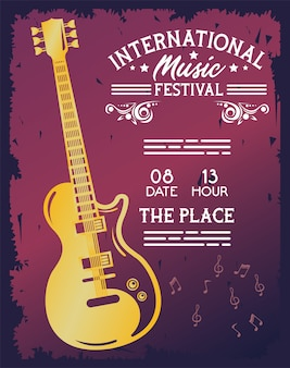 Manifesto del festival musicale internazionale con chitarra elettrica