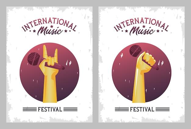 Manifesto del festival musicale internazionale con le mani che sollevano i telai dei microfoni