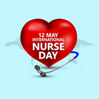 Illustrazione di giorno dell'infermiera internazionale su priorità bassa bianca con attrezzature mediche