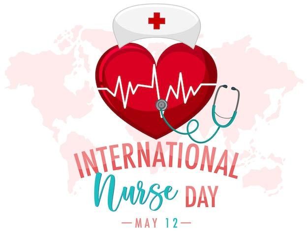 Logo della giornata internazionale dell'infermiera con grande cuore e berretto da infermiera su sfondo di mappa del mondo