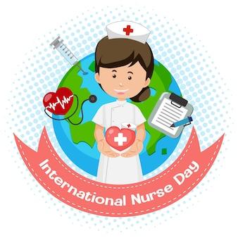 Logo della giornata internazionale dell'infermiera con infermiera carina su priorità bassa del globo