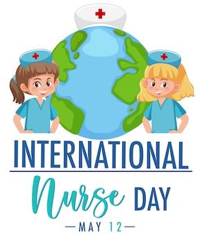 Logo della giornata internazionale dell'infermiera con infermieri carini su priorità bassa del globo