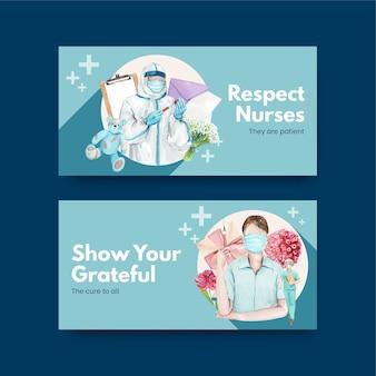 Insieme di modelli di twitter per la giornata internazionale degli infermieri