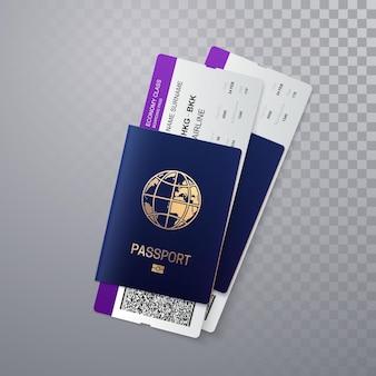 Passaporti internazionali con carte d'imbarco di volo isolati su sfondo trasparente