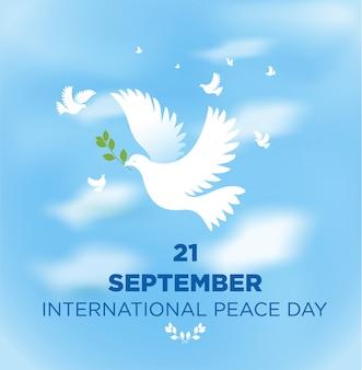 Giornata internazionale della pace su cielo blu.