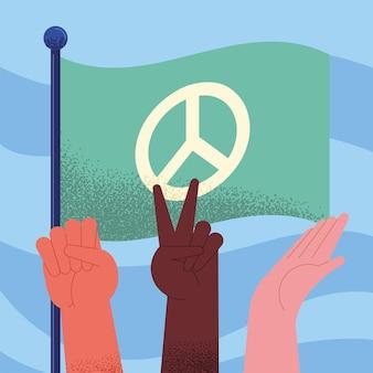 Celebrazione della giornata internazionale della pace con bandiera