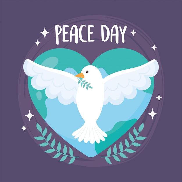Giornata internazionale della pace colomba con illustrazione di vettore del cuore a forma di mondo di ramo