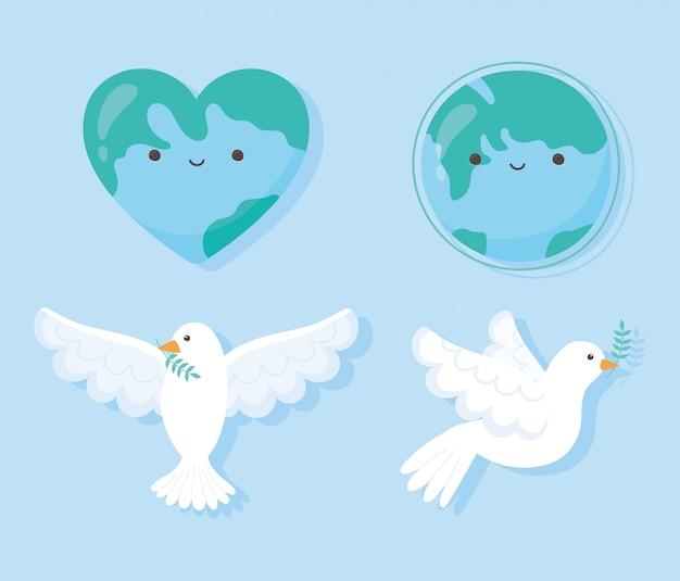 Giornata internazionale della pace colomba con foglia lgobe forma cuore mappa illustrazione vettoriale