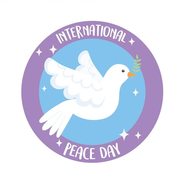 Giornata internazionale della pace colomba con illustrazione vettoriale ramo d'ulivo