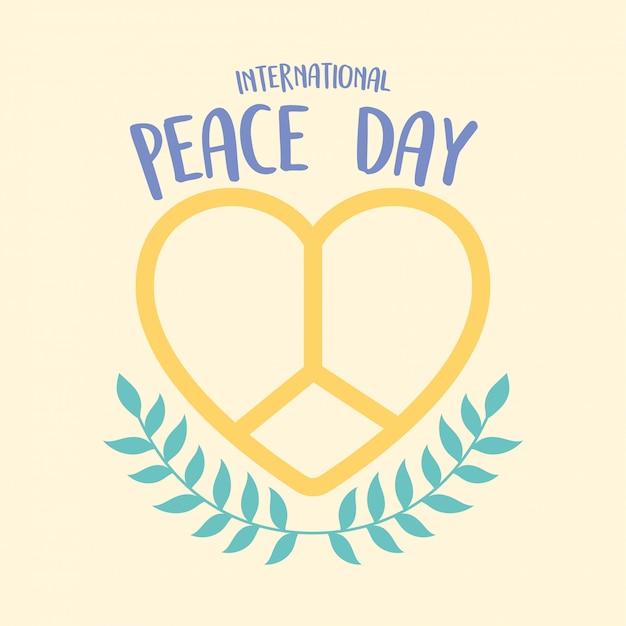 Illustrazione di vettore di decorazione di rami di cuore forma emblema giornata internazionale della pace