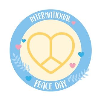 Illustrazione di vettore del modello di amore del cuore a forma di emblema della giornata internazionale della pace