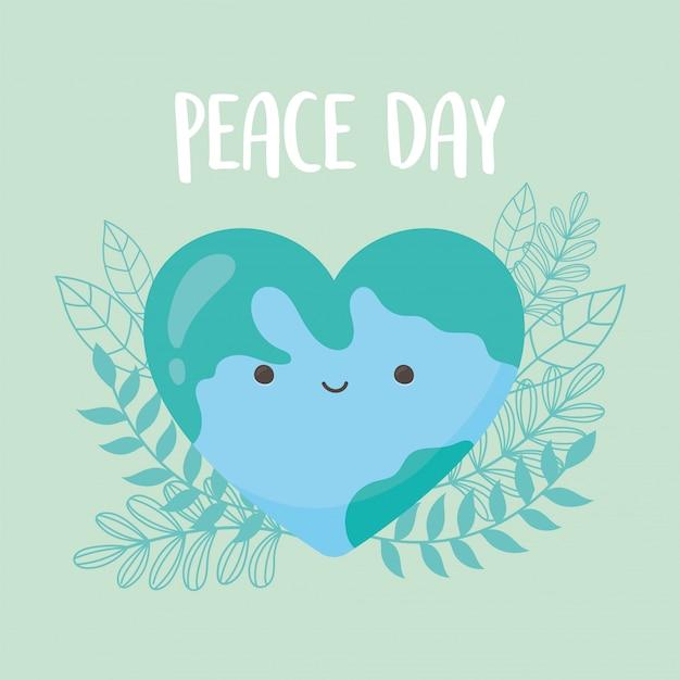 Giornata internazionale della pace mondiale a forma di cuore foglie adorabili fumetto