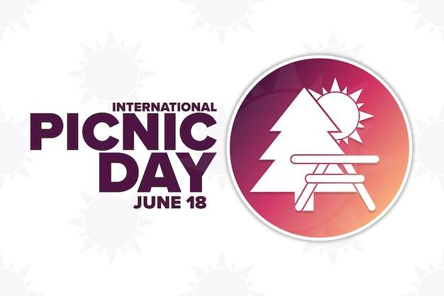 Giornata internazionale del picnic. 18 giugno. concetto di vacanza. modello per sfondo, banner, carta, poster con iscrizione di testo. illustrazione di vettore eps10.