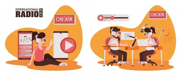 Giornata radiofonica internazionale con personaggi annunciatori