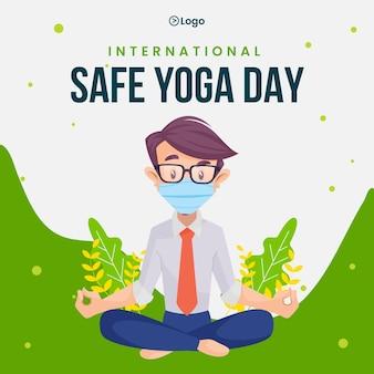 Modello di progettazione di banner di giornata internazionale di yoga sicuro