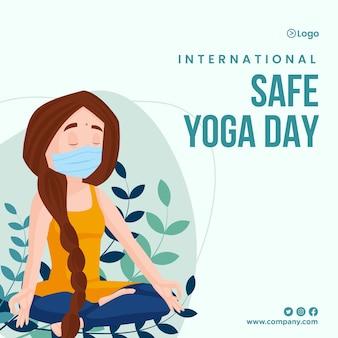 Design di banner per la giornata internazionale di yoga sicuro