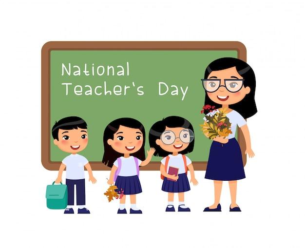 Illustrazione piana di vettore di congratulazione di giornata internazionale degli insegnanti. Vettore Premium