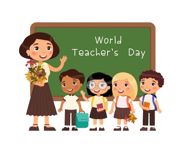 Illustrazione piana di vettore di congratulazione di giornata internazionale degli insegnanti.