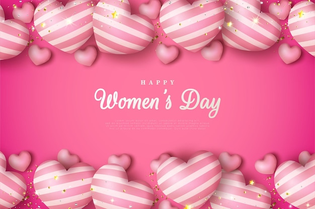 Giornata internazionale della donna dell'8 marzo sfondo con palloncini d'amore incandescente.
