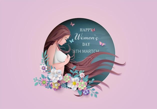 Giornata internazionale della donna 8 marzo con cornice di fiori e foglie, stile paper art.