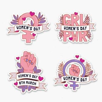 Collezione di badge per la giornata internazionale della donna