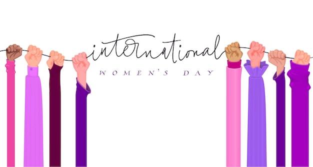 Giornata internazionale della donna. concetto di femminismo, le mani femminili in alto con i pugni.