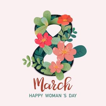 Biglietto di auguri per la giornata internazionale della donna con 8 e decorazioni floreali