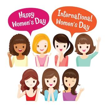 Giornata internazionale della donna, gruppo di donne con varie nazioni e pelle