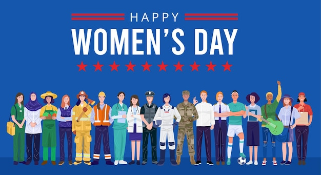Giornata internazionale della donna. gruppo di donne con varie professioni.
