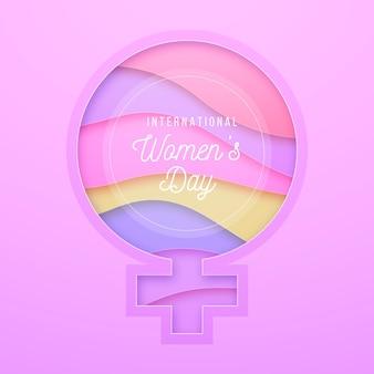 Giornata internazionale della donna in stile carta Vettore Premium