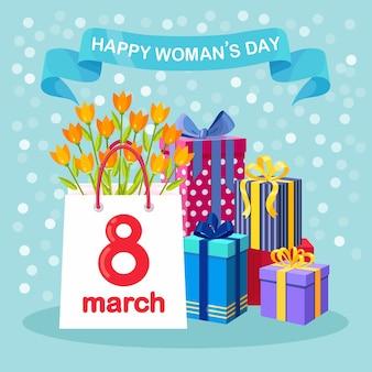 Giornata internazionale della donna. acquista in borsa della spesa, bouquet di fiori e scatole regalo
