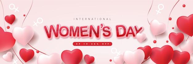 Modello di banner di vendita per la giornata internazionale della donna.