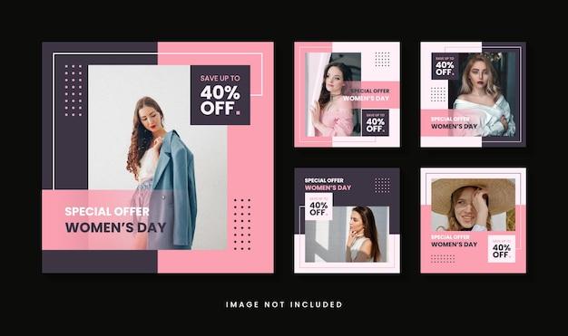 Modello di post instagram vendita giornata internazionale della donna