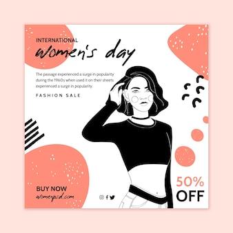 Modello di volantino quadrato per la giornata internazionale della donna