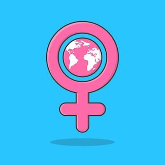 Icona dell'illustrazione dell'icona di simbolo della giornata internazionale della donna