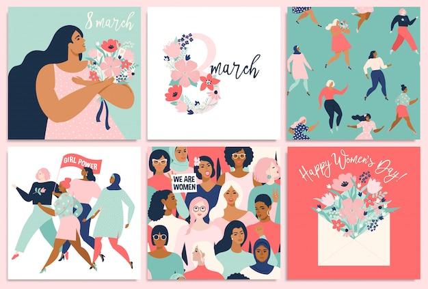 Giornata internazionale della donna. modelli per carta, poster, flyer e altri utenti. Vettore Premium