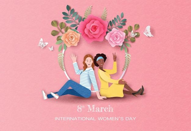 Giornata internazionale della donna, due donne felici che si siedono con il fondo dei fiori nell'illustrazione di carta.