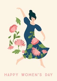 Giornata internazionale della donna. modello di vettore con donna che balla e fiori per carta, poster, flyer e altri utenti