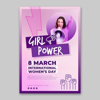 Modello di volantino verticale della giornata internazionale della donna