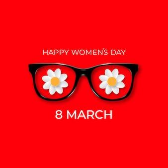 Giornata internazionale della donna. 8 marzo. occhiali neri hipster con fiori bianchi.