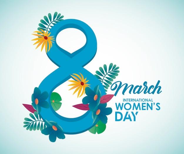 Manifesto di celebrazione della giornata internazionale della donna con fiori e illustrazione di numero otto