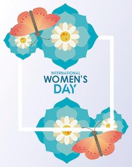 Manifesto di celebrazione della giornata internazionale della donna con scritte e farfalle nell'illustrazione dei fiori