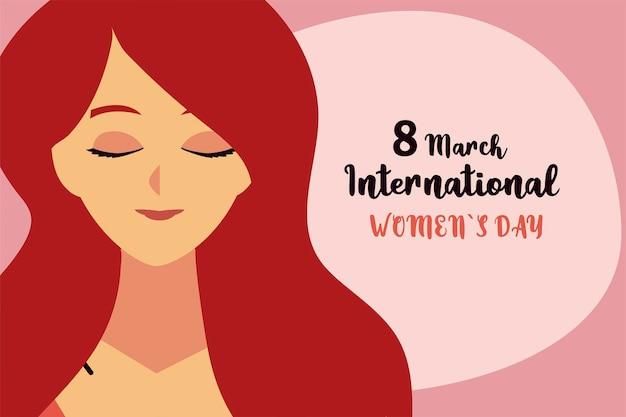Giornata internazionale della donna, illustrazione della carta della donna del fumetto del ritratto